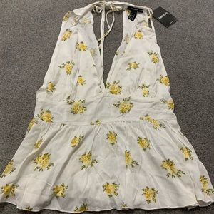 Brand new white and yellow floral top